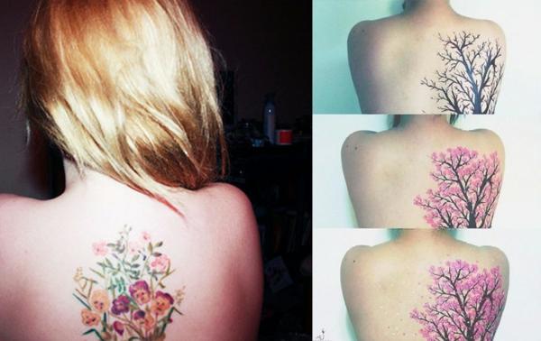 arbre tattoo pour le dos avec des fleur cerisier. Black Bedroom Furniture Sets. Home Design Ideas