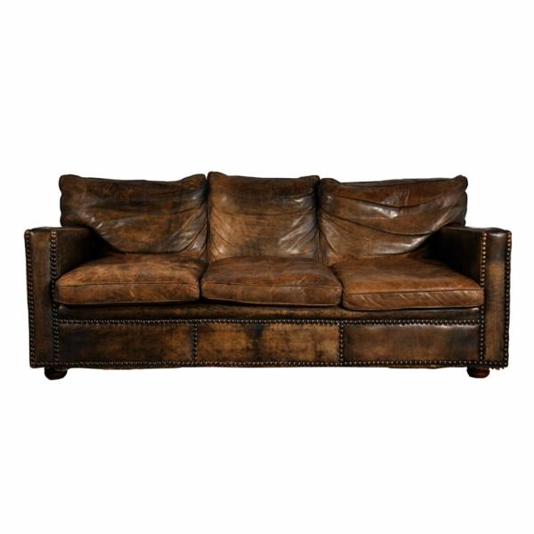 canapé-de-cuir-vintage-de-trois-sièges
