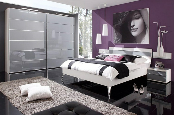 Le tapis de sol pour la chambre coucher - Chambre a coucher violet ...