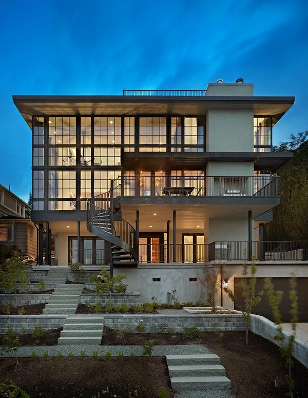 architecture-de-la-maison-avec-escalier-spirale-extérieur