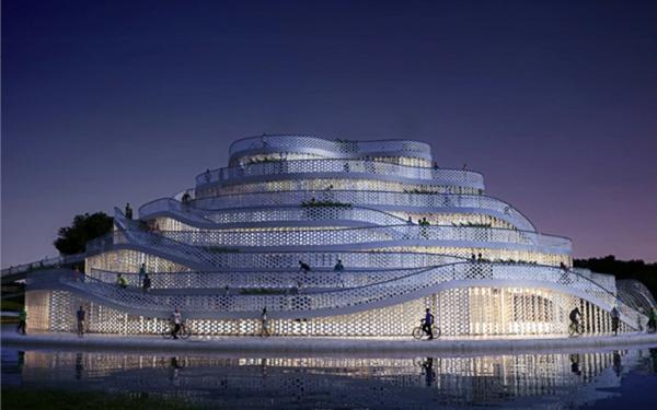 architecture-futuriste-des-allées-de-vélocypédistes
