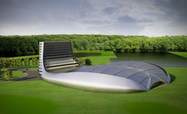 architecture-futuriste-bâtiment-de-golf