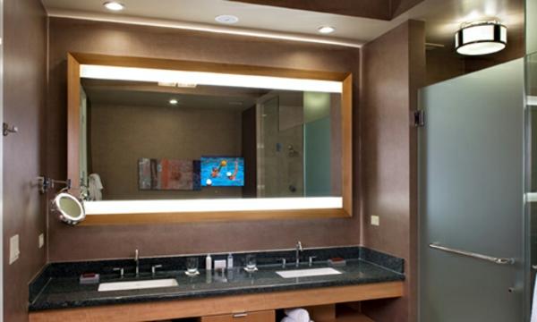 Id es d 39 clairage de miroir pour la salle de bain - Miroir en bois salle de bain ...