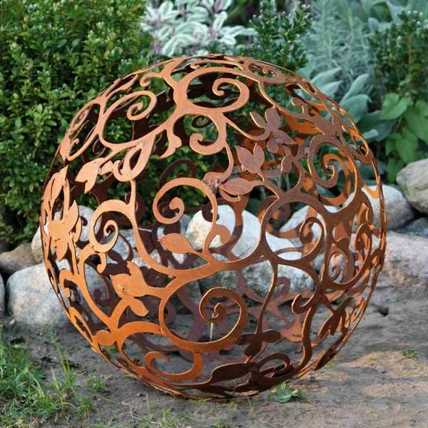 boule,de,fleurs,rouille,decoration,jardin