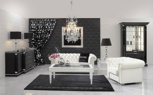 canapé-chesterfield-blanc-dans-une-salle-en-noir-etblanc