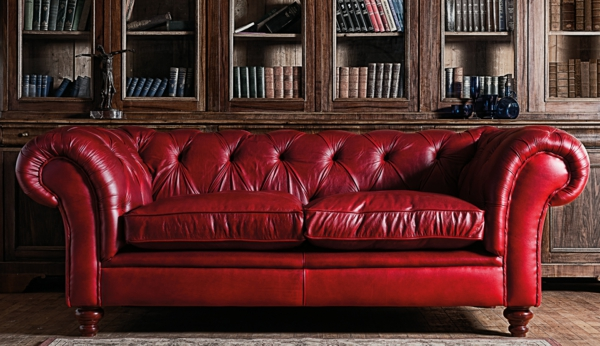 canap chesterfield rouge clatant - Canape Chesterfield Rouge Cuir