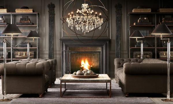 canapé-chesterfield-une-salle-de-séjour-luxueuse