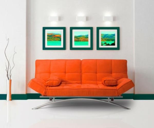 canapé-lit-design-charmant-en-orange