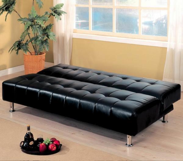 canapé-lit-design-en-cuir-noir