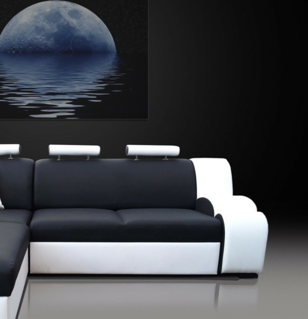 Beautiful Kingston Sofa Beds Corner Style Black White Color Design