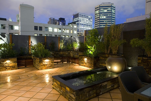 décoration-toit-terrasse-pots-de-plantes-et-bassin