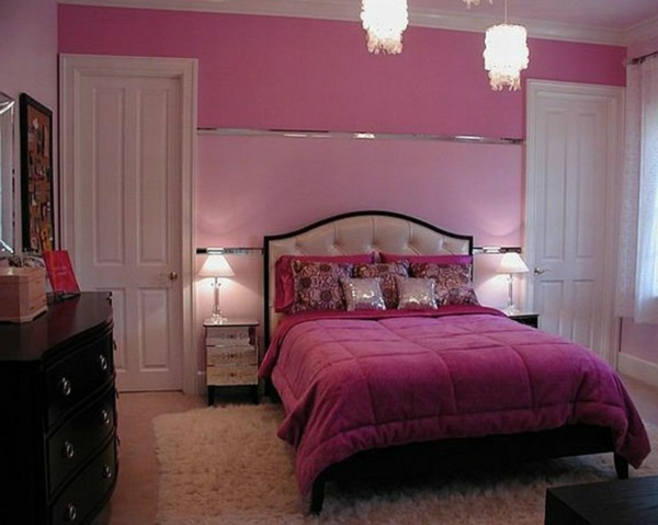 chambre gris et rose fushia ado pr l vement. Black Bedroom Furniture Sets. Home Design Ideas