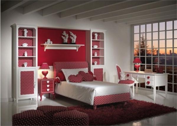 La d co chambre ado fille esth tique et amusante for Bureau rouge et blanc