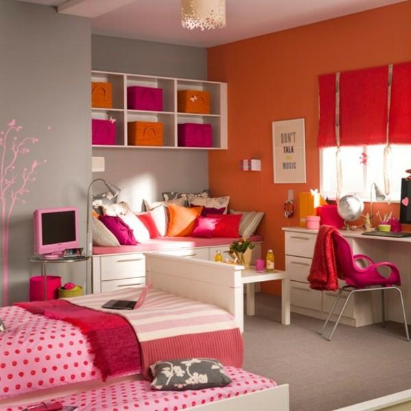 deco-chambre-ado-fille-rouge-orange
