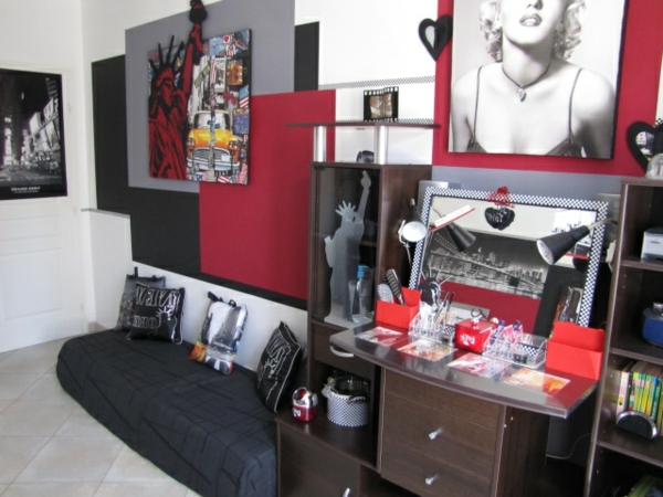idee deco chambre ado theme new york avec des id es int ressantes pour la. Black Bedroom Furniture Sets. Home Design Ideas