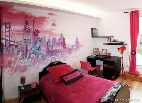 La d co chambre new york ado cr ative et amusante for Modele chambre rose