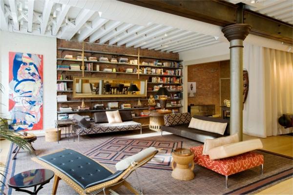 esprit-loft-bibliothèque-et-peinture-moderne-dans-un-appartement-loft