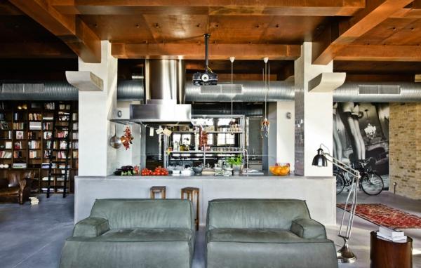 esprit-loft-plancher-céramique-gris-et-plafond-en-bois