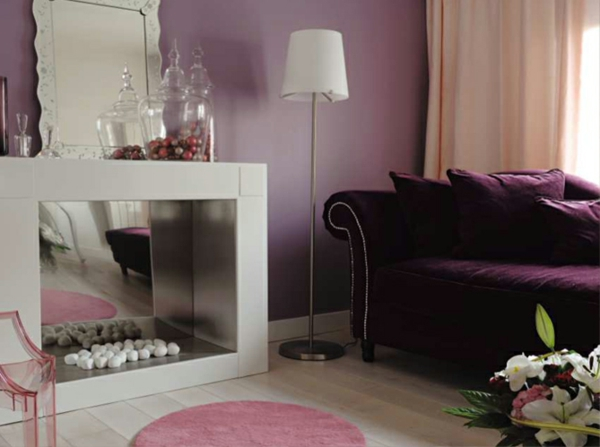 fausse-cheminee-murs-violet