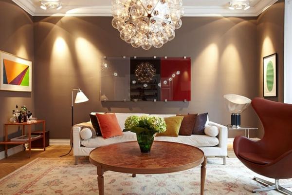 Une id e d co de salon moderne est une inspiration pour l for Couleur chaude pour une chambre