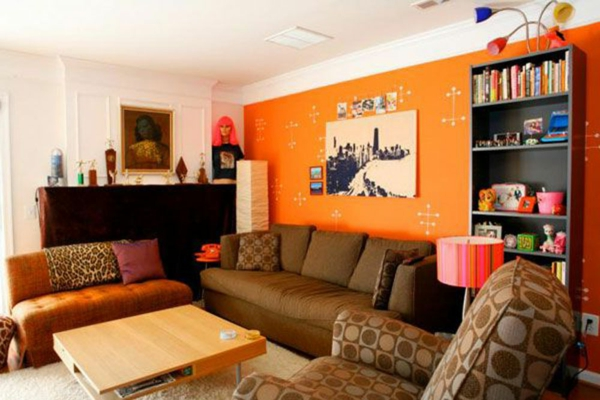idée-déco-de-salon-moderne-en-orange-vive