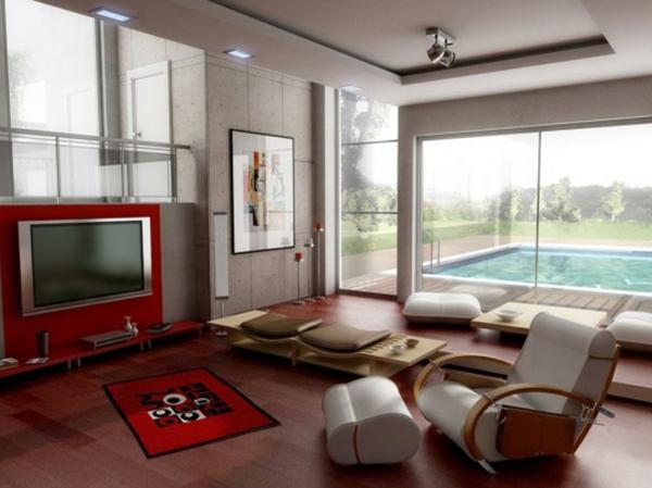 idée-déco-de-salon-moderne-un-tapis-et-une-peinture