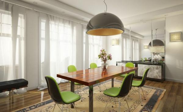 idee-deco-salle-a-manger-chaises-vertes