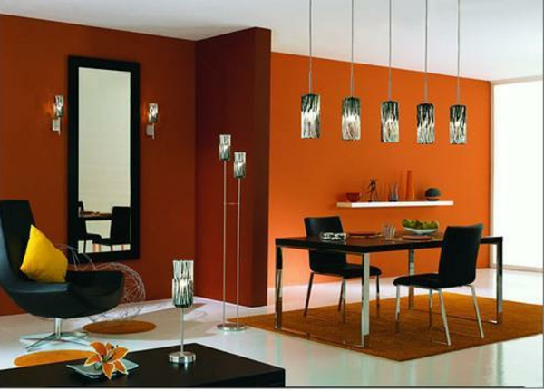 decoration mur orange. Black Bedroom Furniture Sets. Home Design Ideas