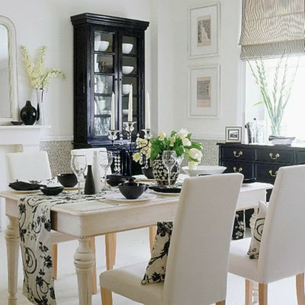 decoration salle a manger noir et blanc. Black Bedroom Furniture Sets. Home Design Ideas