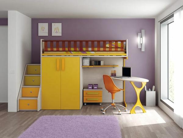 lit-mezzanine-pour-enfant-jaune