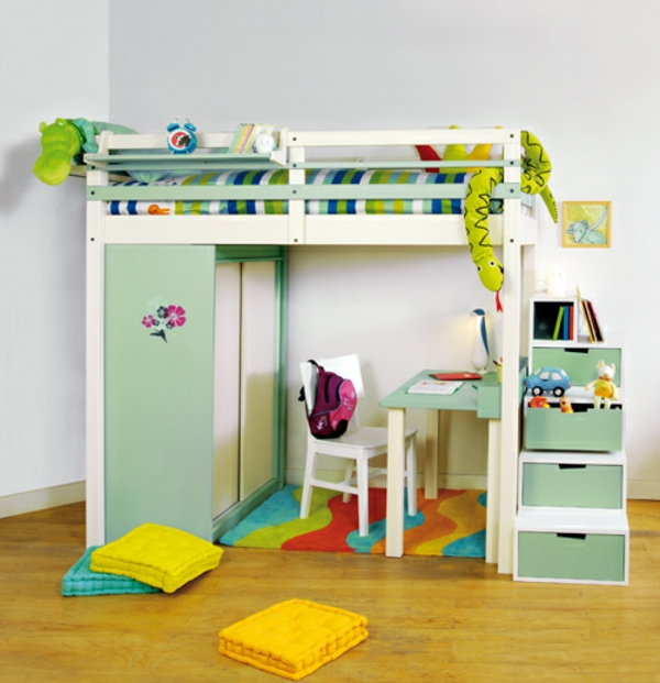 un lit mezzanine pour enfant des id es en photos. Black Bedroom Furniture Sets. Home Design Ideas