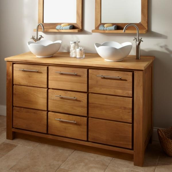 Le meuble salle de bain double vasque convient une salle de bain jolie et - Meuble salle de bain avec vasque posee ...