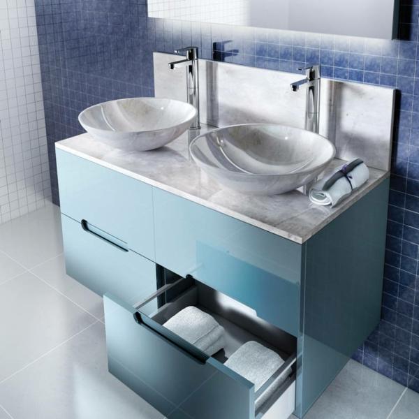 Le meuble salle de bain double vasque convient une for Meuble salle de bain bleu