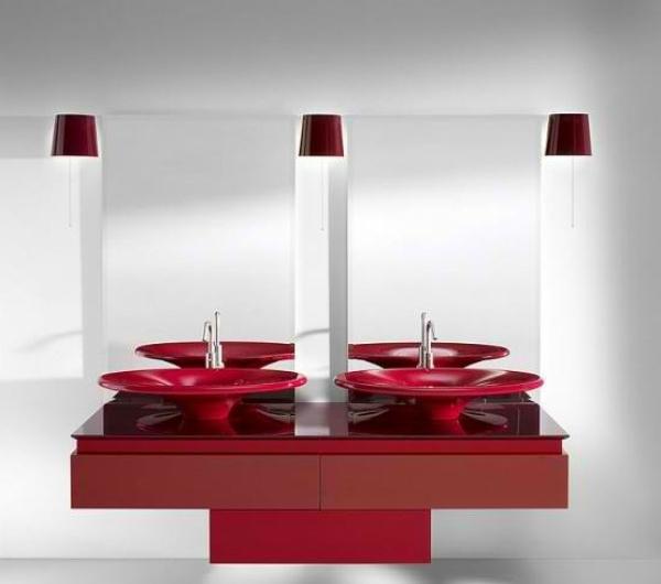 Le meuble salle de bain double vasque convient une - Salle de bain en rouge et blanc ...