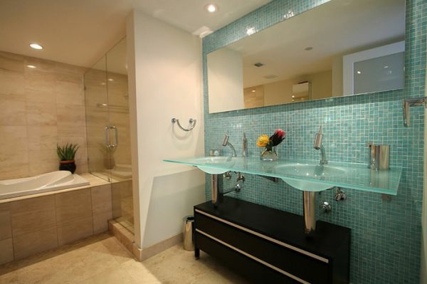 double vasque salle de bain en verre