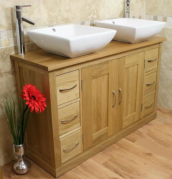 Le meuble salle de bain double vasque convient une for Meuble de salle de bain en bois double vasque