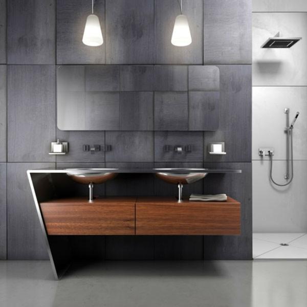 Le meuble salle de bain double vasque convient une - Meuble salle de bain design gris ...