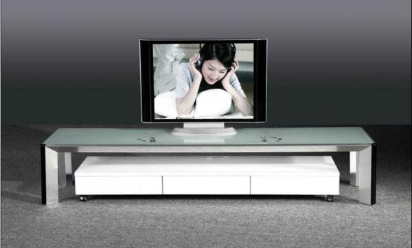 Le meuble TV  design et style pour lintérieur  Archzinefr -> Meuble Tv Blanc Laqué Et Verre