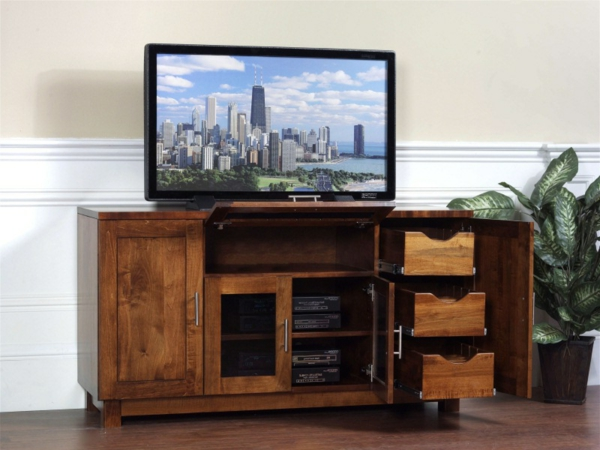meuble-tv-bois-tiroirs