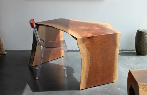 Meuble bois brut bureau blanc laqué avec rangements