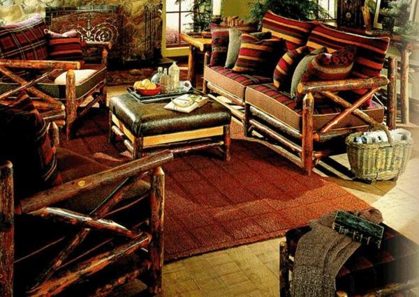 meubles-rustiques-en-bois-foncé-et-coussins-incroyables