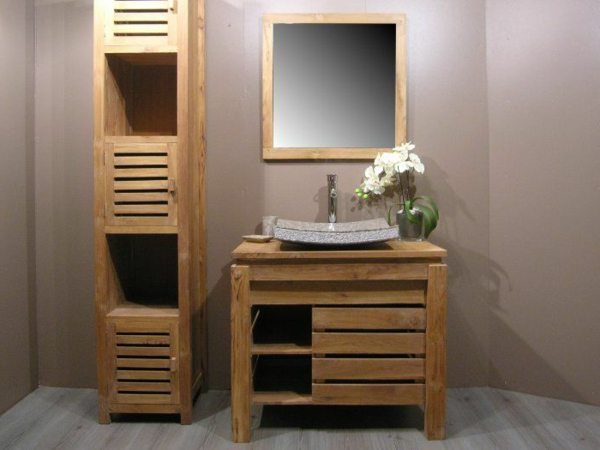 Le meuble colonne de salle de bain - Miroir salle de bain bois ...