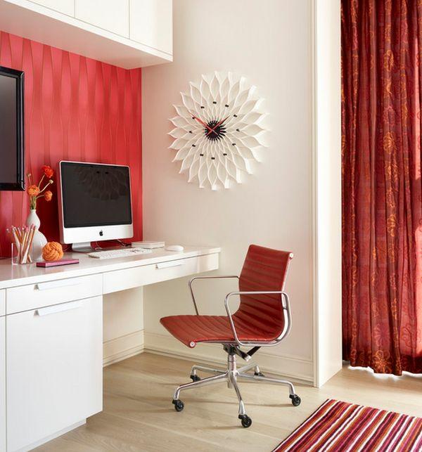 pendule-murale-design-tournesol-blanc