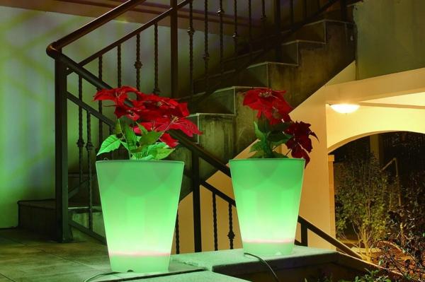 pot-de-fleur-lumineux-deux-pots-en-vert