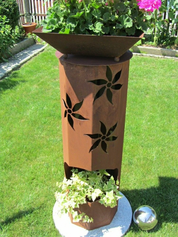 Decoration jardin metal rouille - Pot de decoration ...