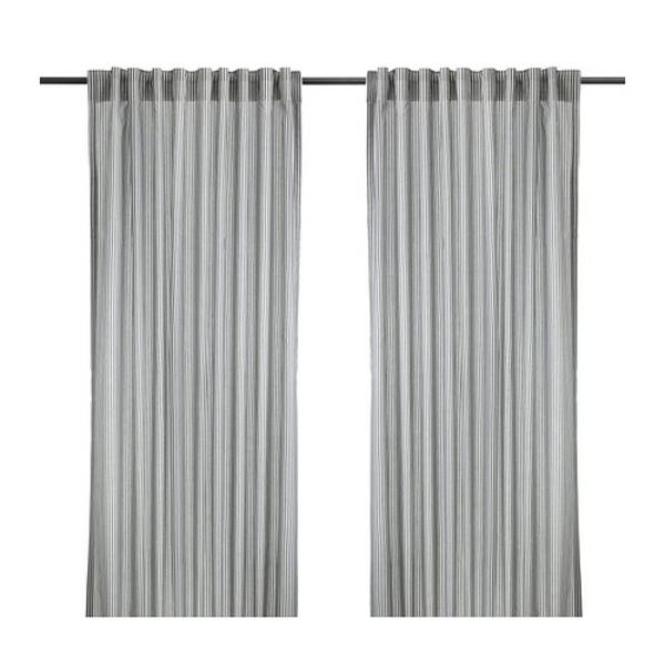 rideaux-ikea-gulsporre-blanc-gris- Rideau à suspendre à une tringle par les passants cachés ou à l'aide d'anneaux et de crochets