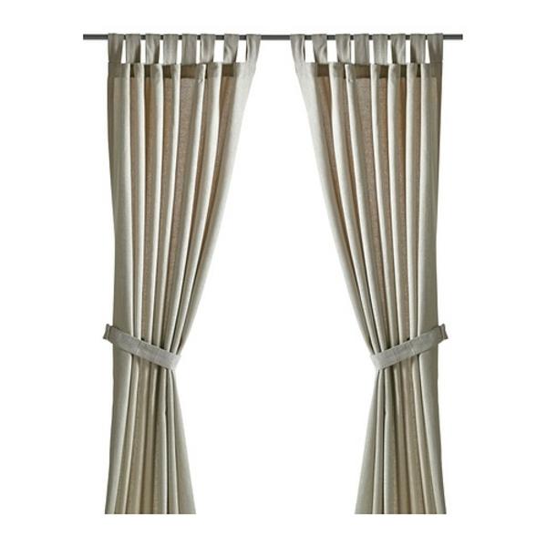 rideaux-ikea-lenda-avec-embrasses-beige-clair- Les passants permettent de suspendre les rideaux directement sur une tringle