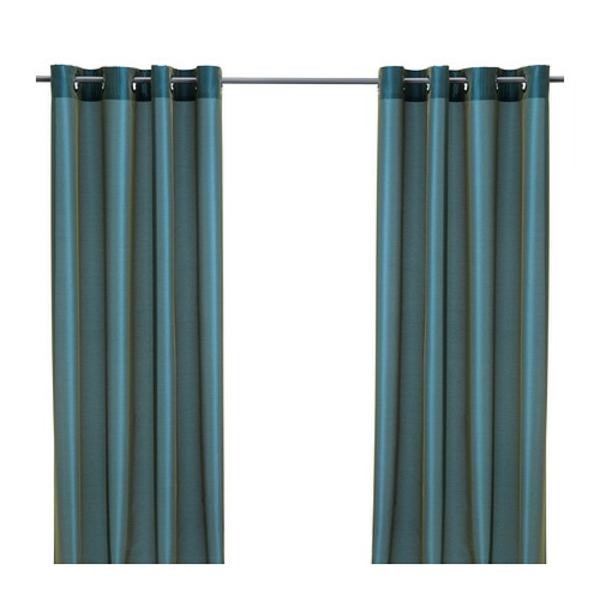 rideaux-ikea-parlbuske-vert-bleu - Les rideaux présentent une brillance élégante grâce au tissage de deux couleurs différentes