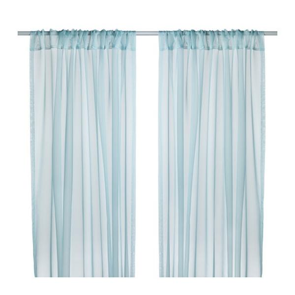 rideaux-ikea-teresia-turquoise-Les rideaux extra fins laissent passer la lumière du jour tout en préservant votre intimité. À utiliser conjointement avec d'autres rideaux pour habiller une fenêtre