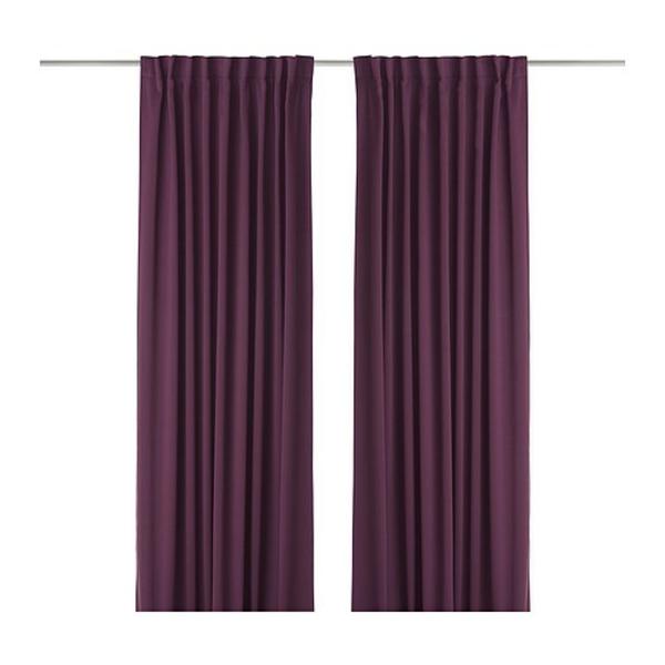 rideaux-ikea-werna-mauve-fonce-Les rideaux permettent d'assombrir la pièce et préservent l'intimité